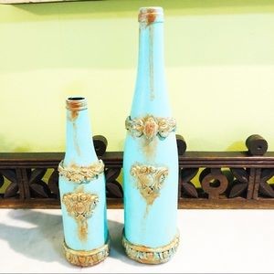 Other - Decorative turquoise and gold embellished bottles.